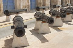 Malta, Vittoriosa, Historic Cannons. At Maritime Museum Stock Photos