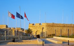 The Malta at War Museum, Birgu, Malta. The Malta at War Museum, dedicated to Malta`s World War II history, housed in Couvre Porte. The former part of the stock photo