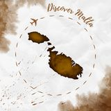 Malta watercolor island map in sepia colors. Discover Malta poster with airplane trace and handpainted watercolor Malta map on crumpled paper. Vector Stock Image