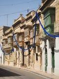 Maltanese balconies. Traditional maltese wooden balconies in Tarxien Stock Image