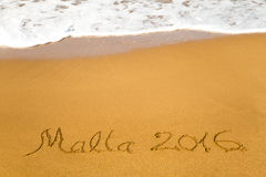 Malte 2016 écrite en sable Image stock