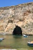 Malte, île de Gozo, vue panoramique de lagune interne de Dwejra Image libre de droits