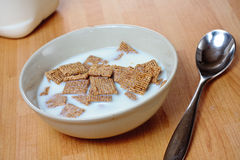 Malted cereal. A bowl of malted square cereal in a bowl with milk Stock Images