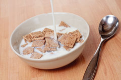 Malted squares and milk. A bowl of malted cereal being covered in fresh milk Stock Images