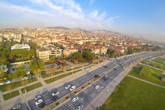 Maltepe, Istanbul. Aerial Car traffic on a typical dual carriageway. Driving to nature on divided highway in a sunny spring day Stock Images