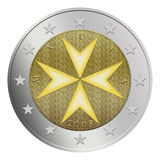Maltese 2 Euro Coin stock photography