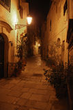 Maltese alley at night Stock Images