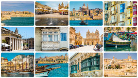 Maltese architectural details and sights. In collage Royalty Free Stock Images