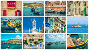 Maltese architectural details and sights. In collage Stock Image