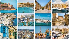 Maltese architectural details and sights. In collage Stock Photos