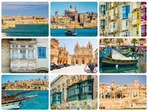 Maltese architectural details and sights. In collage Stock Images