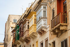 Maltese architecture. Bay windows (erkers) - typical architectural feature in Sliema, Malta Stock Photo