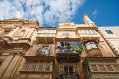 Maltese architecture. West Street buildings, Valletta, Malta Stock Image