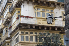 Maltese Architecture with Balconies and Windows, Valletta City. Malta Royalty Free Stock Photo