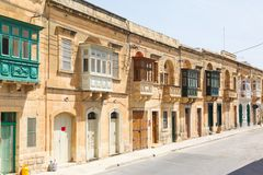 Maltese architecture in Valletta, Malta Royalty Free Stock Photo