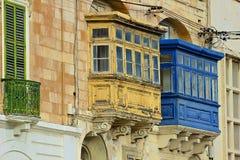 Maltese balconies. Traditional balconies of Malta buildings Royalty Free Stock Photography
