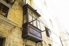 Maltese balcony. Building with traditional colorful maltese balcony in Valletta city Stock Image