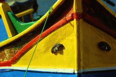 Maltese boat. Fishing boat in Malta, under the protection of its eye Stock Image