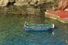 Maltese boat in Popeye village, Malta. Details of Popeye village in Malta Stock Photos