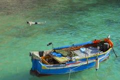 Maltese boat in Popeye village, Malta Stock Photo