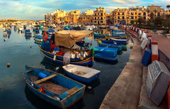 Maltese boats. The port of Birzebbuga. Malta Stock Image