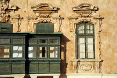 Maltese box windows, Valetta, Malta. Stock Photography