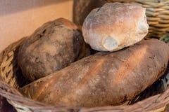 Maltese Bread. Traditional Maltese Bread in a wicker basket Stock Photos