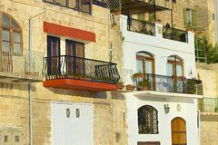Maltese buildings and balconies Stock Photos