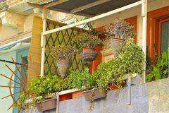 Maltese buildings and balconies. Traditional Balconies in St Julians, Malta Stock Photography