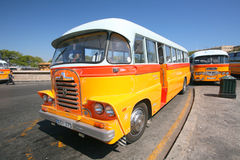Vintage bus at bus depot Royalty Free Stock Image