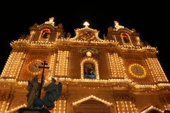 Maltese Church. Lit up for the village feast Royalty Free Stock Image
