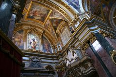 Maltese church interior. With organs in small town Royalty Free Stock Photography