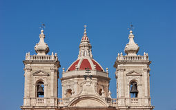 Maltese church towers. Three towers of christian church in Malta. Straight perspective Stock Image