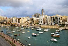 Maltese Coast  at the Mediterranean Sea. In St. Julians Bay , Malta Island Stock Photos