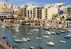 Maltese Coast  at the Mediterranean Sea. ST.JULIANS BAY, MALTA - NOVEMBER,2 ,2014.Maltese Coast  at the Mediterranean Sea  in St. Julians Bay , Malta Island Stock Photo