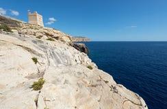 Maltese coast near Zurrieq. Maltese coast and Sciuta Tower Torri ta` Xuta near Zurrieq Stock Photography
