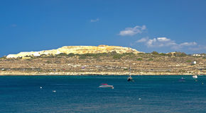 Malta, Coastline view. Salina Bay in the northwestern part of Malta near the town of Bugibba Royalty Free Stock Image
