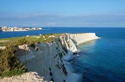 Maltese coastline, Marsascala, Malta. Rocky shoreline in Marsascala, Malta Stock Images