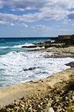 Maltese Coastline, Ricasoli, Malta. Rough sea at Ricasoli coastline on the island of Malta Royalty Free Stock Photography