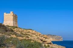Fortifications of Malta - Wied Iz-Zurrieq. Ta Xutu Tower, known as it Torri ta Xutu, 17th century coastal watchtower - Wied Iz-Zurrieq, Malta Stock Photography