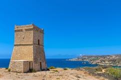 Fortifications of Malta - Ghajn Tuffieha. 17th century coastal watchtower - Għajn Tuffieħa, Malta Royalty Free Stock Images