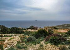 Maltese countryside landscape on the south of Malta, Mediterranean royalty free stock photo