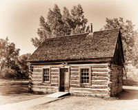 Maltese cross cabin. Theodore Roosevelt's Maltese Cross Cabin in Theodore Roosevelt National Park near Medora, North Dakota Stock Photos