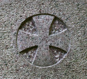 Maltese cross. In granite stone Royalty Free Stock Photos