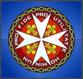 Maltese cross. Stained-glass window Maltese cross with motto. illustration Royalty Free Stock Images