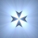 Maltese cross symbol blue light flare Royalty Free Stock Images