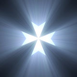 Maltese cross symbol blue light flare Royalty Free Stock Image