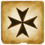 Maltese cross symbol on old paper royalty free stock images