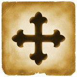 Maltese cross symbol on old paper Royalty Free Stock Photos