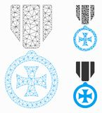 Maltese Cross Vector Mesh Carcass Model and Triangle Mosaic Icon